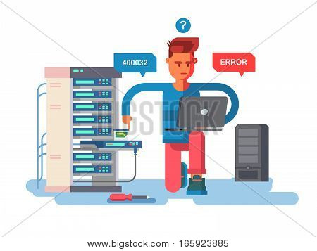 IT Specialist network. Technology computer, information and electronic, engineer repair system, vector illustration