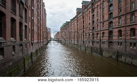Hamburg Docks, Germany. Typical red brick architecture of the harbor and docks of Hamburg Germany.