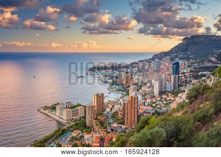 Monaco. Cityscape image of Monte Carlo, Monaco during summer sunset.