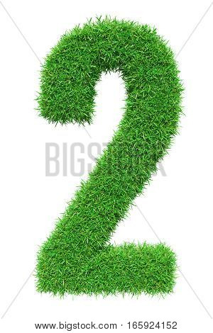 Green grass number 2, isolated on white background. 3D illustration