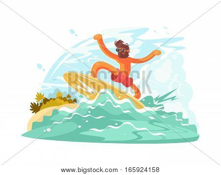 Surfer guy in sunglass sliding on big ocean wave. Vector illustration