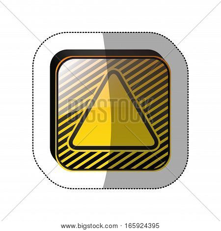 middle shadow sticker in yellow square with triangle inside vector illustration