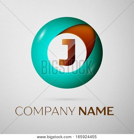Letter J vector logo symbol in the colorful circle on grey background. Vector template for your design