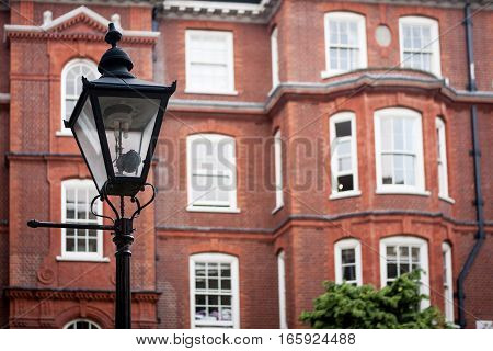 Victorian gas lamp in the Temple Bar legal district, London, UK.