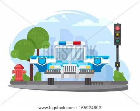 Police car with flasher and open door staying on city road. Vector illustration