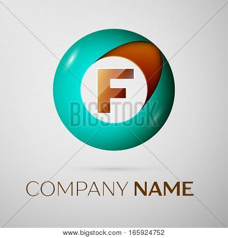 Letter F vector logo symbol in the colorful circle on grey background. Vector template for your design