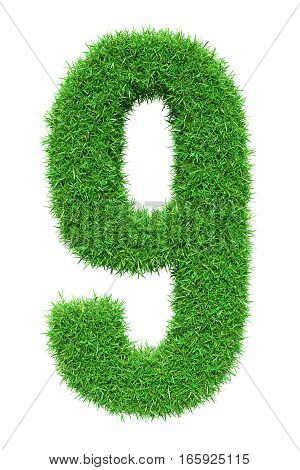 Green grass number 9, isolated on white background. 3D illustration