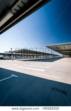 Contemporary car park architecture; wide angle with copy space.
