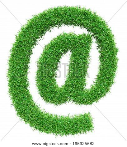 Green grass email symbol, isolated on white background. 3D illustration