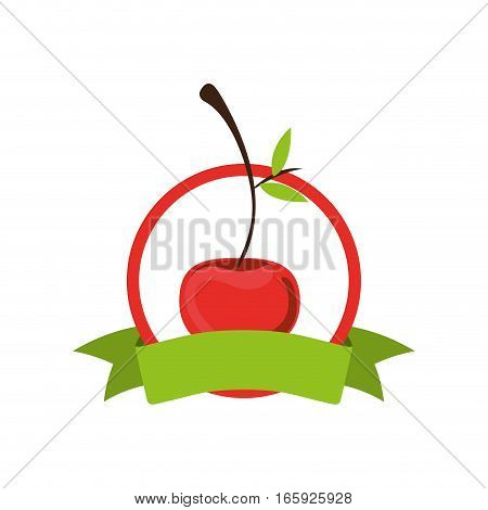 label silhouette colorful with cherry vector illustration