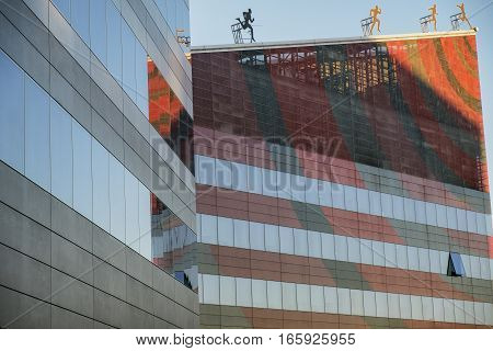 MILAN, ITALY - OCTOBER 4, 2016: Milan (Lombardy Italy): modern office building in the Portello area hosting the headquarter of Milan A.C. historic football club