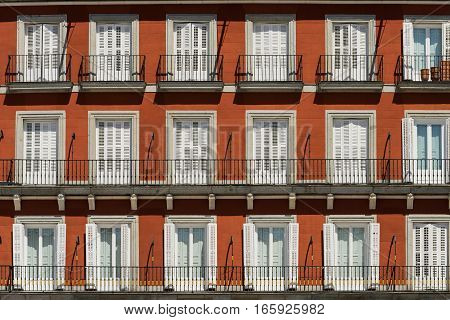 Madrid (Spain): facade of historic palace in Plaza Mayor the main square of the city