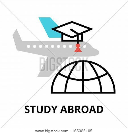 Study abroad icon flat thin line vector illustration for graphic and web design