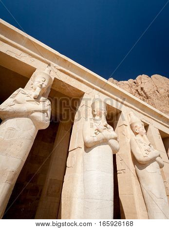 The Mortuary Temple of Hatshepsut near the Valley of the Kings, Luxor Egypt.
