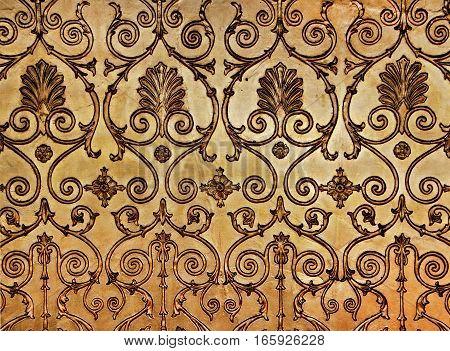 Golden wall, antique gold decor, beautiful ornament