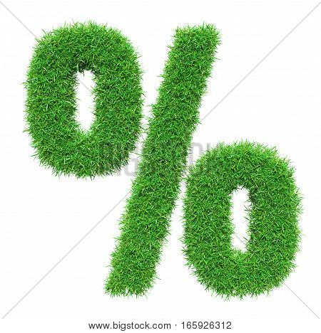 Green grass percent, isolated on white background. 3D illustration