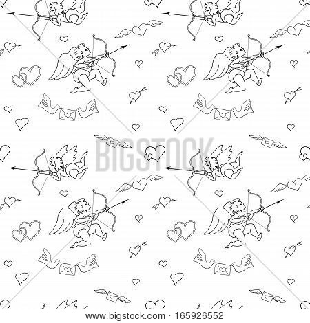 Seamless pattern with angels and hearts in doodle style. Valentines Day. Romantic love had draw
