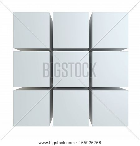 Abstract 3d illustration of cube assembling from blocks. Isolated on white. Template for your design