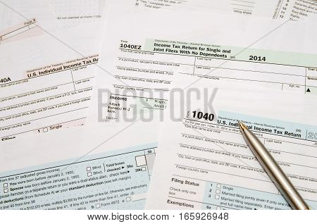 Tax Form 1040 1040a 1040ez   close up