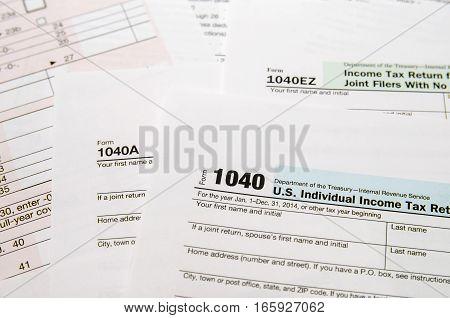 Tax Form 1040 close up 1040a 1040ez