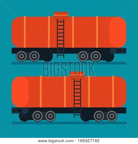 Freight tank. Cargo transportation logistic rail road train cistern vector icon