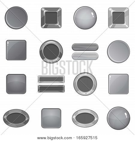 Blank web buttons icons set in monochrome style isolated on white background