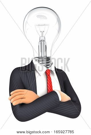 3d businessman with light bulb head illustration with isolated white background