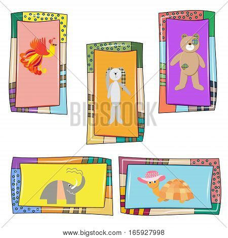 Set of 5 baby cards with cute animals - Firebird turtle elephant Bunny and bear in the original frame for the holidays birthday postcards and posters