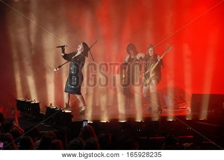 ISTANBUL, TURKEY - JUNE 27, 2015 : Turkish Pop Star Sebnem Ferah during the concert at Harbiye Cemil Topuzlu Open Air Theatre.