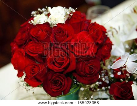 beautiful wedding bouquet of fresh red roses