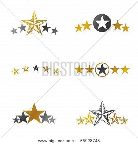 Stars Ancient Emblems Elements Set. Heraldic Vector Design Elements Collection. Retro Style Label, H