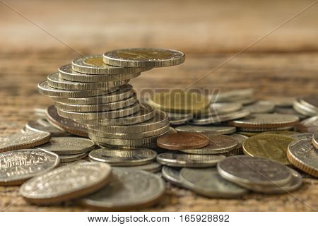 stack of coins make different for business concept.