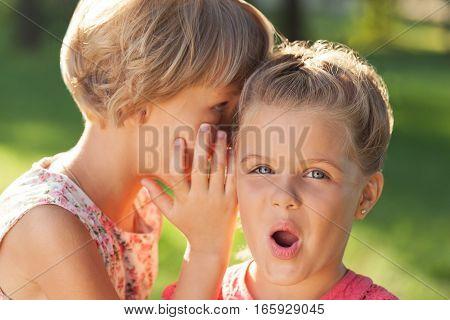Portrait of Two Little Girlfriends / Sisters Whispering Secrets
