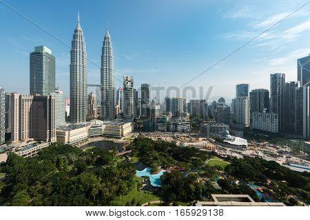 Kuala lumpur city skyline and skyscraper in Kuala lumpur Malaysia