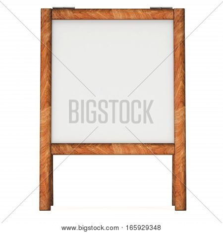 Sandwich board. Blank menu outdoor display with clipping path. Trade show booth. 3d render isolated on white background. High Resolution Template for your design.
