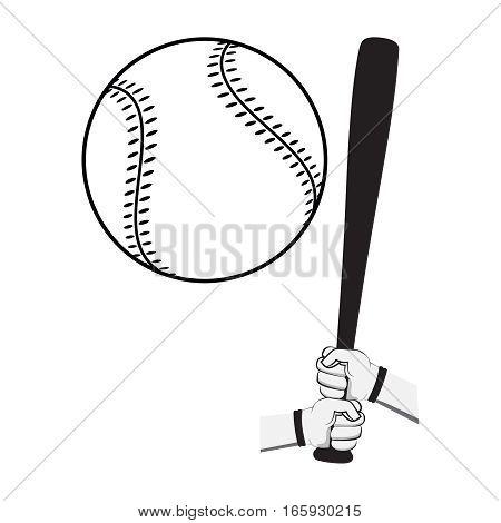 Hands holding baseball bat and big ball. Isolated on white background