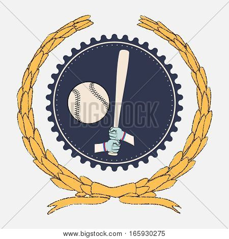 Hands holding baseball bat and big ball. Sport logo isolated on white for any team or competition
