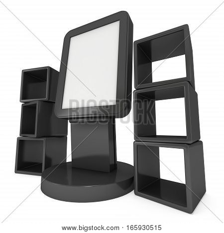 LCD Display Stand and product display boxes. Blank Trade Show Booth. 3d render isolated on white background. High Resolution image. Ad template for your expo design.