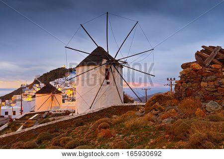 Windmills in Chora, Serifos island in Greece.