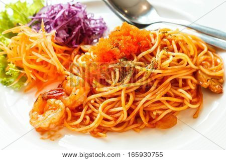 Spaghetti with prawn Delicious tomato sauce Italian