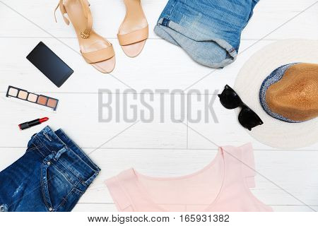 women's fashion clothes and accessories top view with copy space
