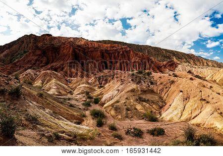 Panorama of Skazka aka Fairytale canyon Issyk-Kul Kyrgyzstan