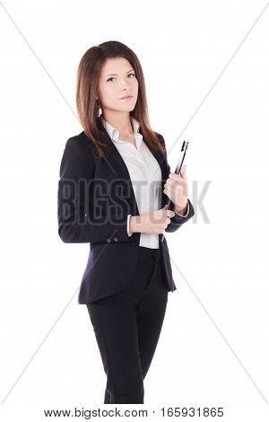 young happy smiling businesswoman, isolated on white background