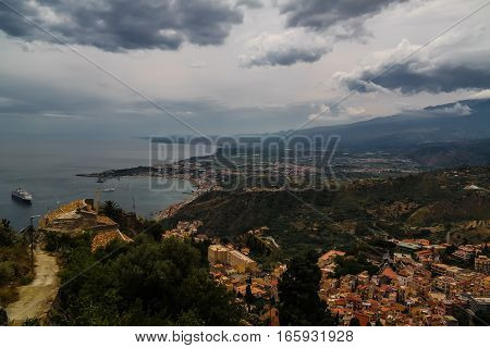 Aerial view to Taormina bay Sicily Italy