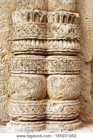 Part of column of old orthodox monastery Gelati, near Kutaisi - Georgia. Unesco place