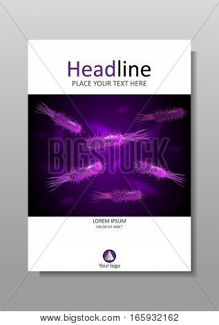 Book cover A4 design with bacteria in purple luminescence. Medical scientific academic virus flagellum bacteria microbe germ background. Vector.
