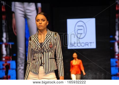 ANKARA, TURKEY - JULY 4, 2013 : On the catwalk model present a new women's collection at Sheraton Hotel during the Ankara Shopping Fest.