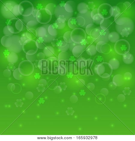 Abstract St Patrick's day bokeh background decorated with shamrocks