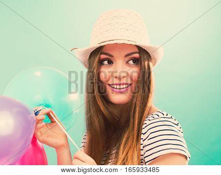 Woman Summer Joyful Girl With Colorful Balloons