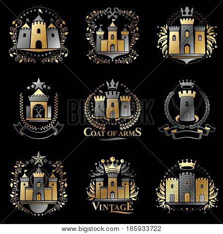Ancient Citadels Emblems Set. Heraldic Vector Design Elements Collection. Retro Style Label, Heraldr